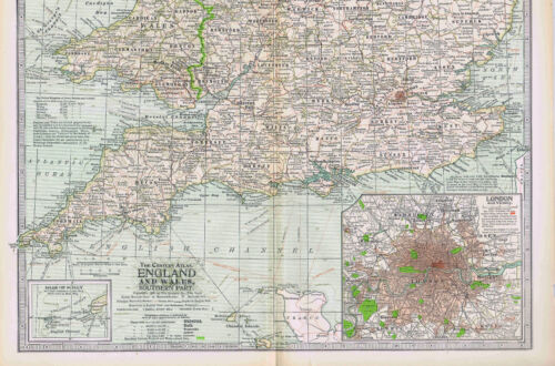 ENGLAND & WALES- North & South -1897 Antique Color Maps