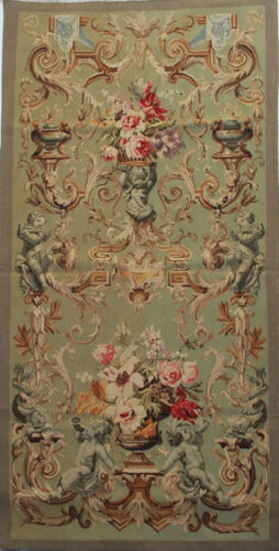 """36.5""""x75"""" Reproduction Handwoven FRENCH AUBUSSON TAPESTRY PORTIERE-Cherubs"""