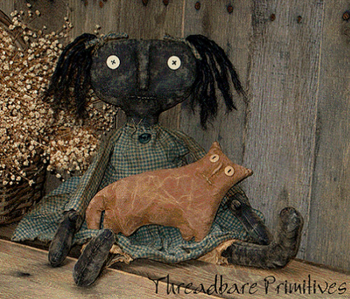 PATTERN Extreme Primitive Raggedy Black Doll with Barn Cat FREE SHIPPING TBP