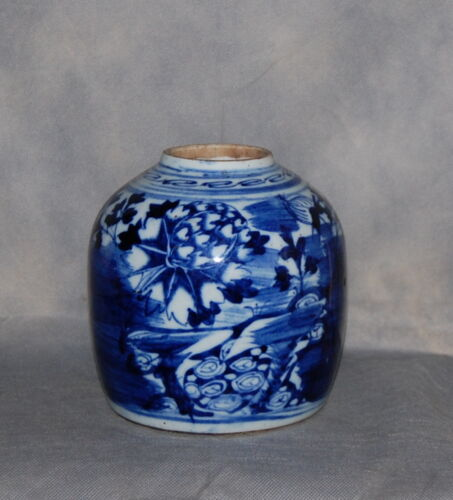 Unusual Antique Chinese Blue White Porcelain Ginger Jar Flowers Landscape Dragon