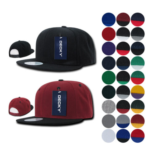 DECKY Flat Bill 6 Panel Snapback Baseball Plain Blank Two Tone Caps Hats Unisex