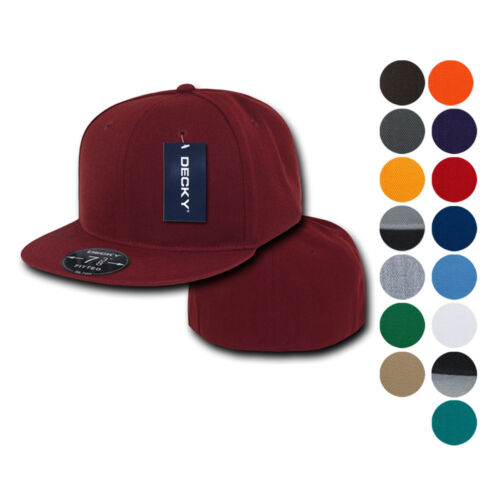 Decky New Retro Fitted Flat Bill Baseball Hats Caps Blank Plain Solid 8 sizes