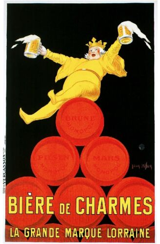 1900's French Biere de Charmes Beer Food & Wine Advertisement Art Poster Print
