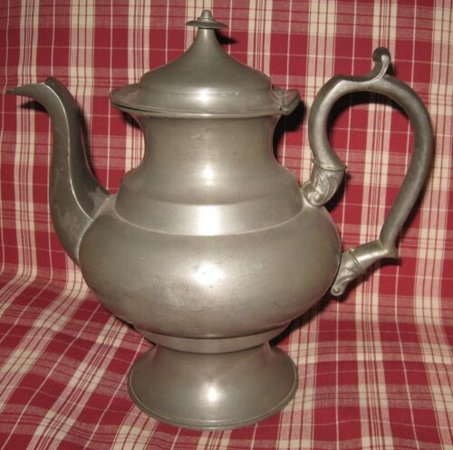 """Mid 19th Century American Pewter Coffee Pot marked '8' Exc. Condition 10-1/2"""" h."""