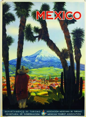 Mexico Mountain Village Mexican Spanish Vintage Travel Advertisement Art Poster