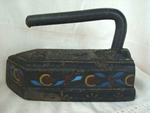 OLD Early Rare C.M.Co. Black Forged Cast 18# Sad Iron Tole Paint Folk Art Floral