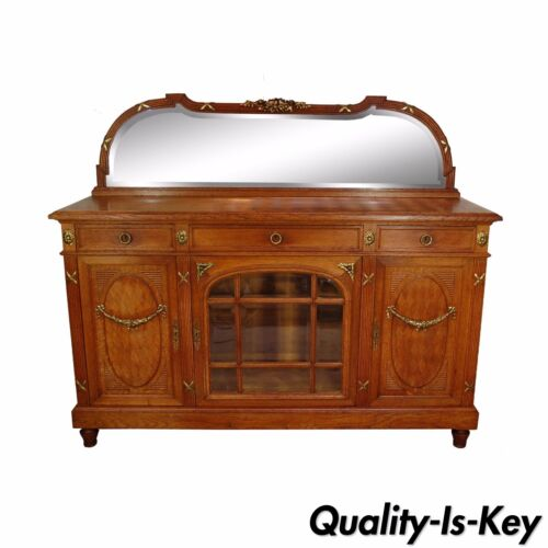 Antique French Country Louis XV Style Carved Oak Bronze Mount Sideboard Cabinet