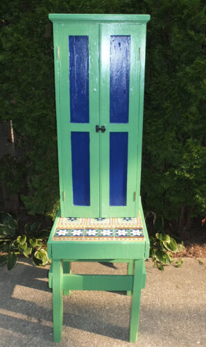 Vintage Industrial Table & Cabinet Painted Minton Tiles England Green Blue LOOK!