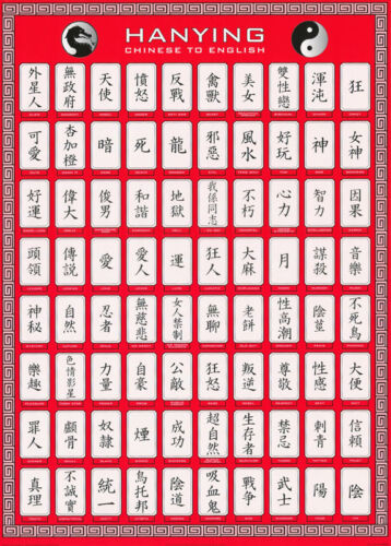 POSTER : HANYING CHINESE TO ENGLISH  - FREE SHIPPING !   #PP0146    RC55 S