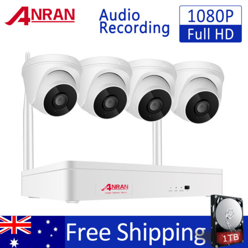 1080P 8CH Security Camera System Wireless Outdoor 1TB HDD WiFi 2MP Night Vision