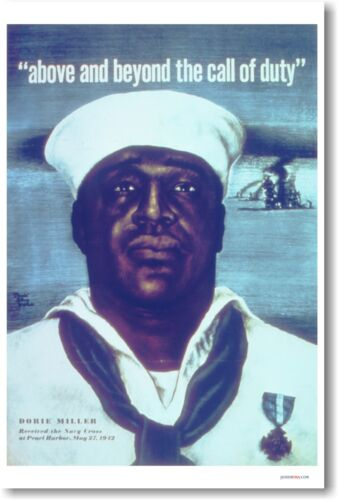 Above and Beyond the Call of Duty - Dorie Miller - NEW Vintage WW2 Print POSTER