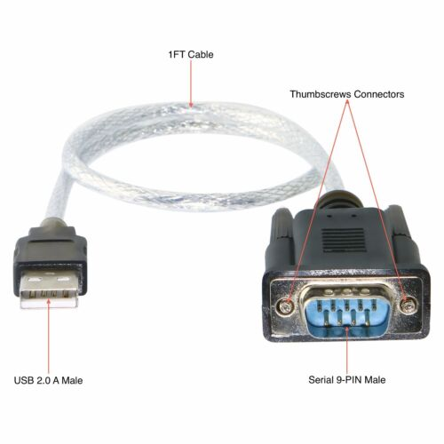 """Sabrent USB 2.0 TO SERIAL 9-PIN DB-9 RS-232 ADAPTER 12"""" CABLE SBT-USC1K @ Sydney"""