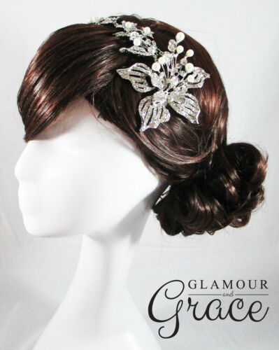 Georgia vintage wedding bridal silver crystal headpiece hair accessory clip comb