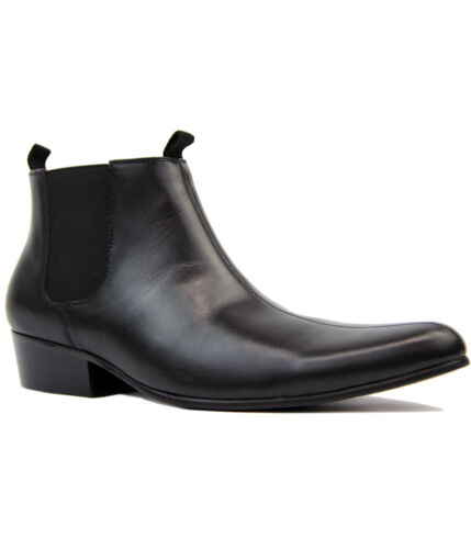 NEW MOD RETRO 60S MENS CLASSIC CHELSEA BOOTS: Sixties BLACK LEATHER LIGHTFOOT