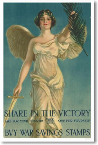 Share in the Victory - Buy War Savings Stamps - NEW Vintage WWI Art Print POSTER