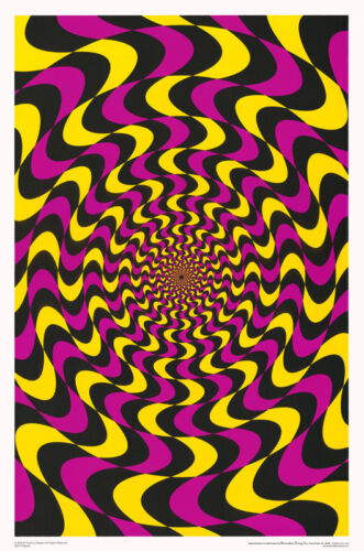 POSTER : PSYCHEDELIC : RIPPLES - FLOCKED  - FREE SHIPPING    #3518F     RP61 H