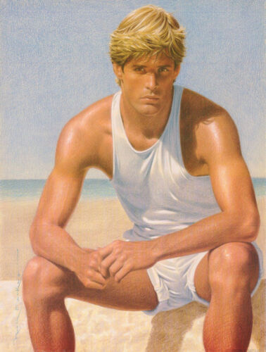 SMALL POSTER :ART:  SEXY MALE MODEL - SITTING BY WATER - FREE SHIP #P-03  RC8 N