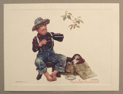 Vintage 1991 Norman Rockwell Mysterious Malady A Boy and His Dog Embossed Print