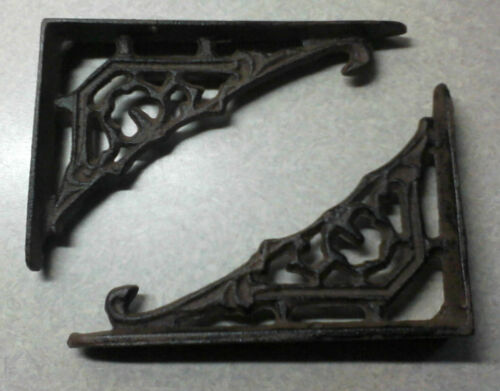 Beautiful small cast iron VIctorian Flower wall shelf BRACKETS - pairs