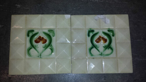 "2 Antique Art Nouveau 6"" x 6"" Floor/Wall Tiles 1890s England Pyramid Squares"
