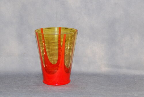 Czechoslovakia Tango Orange Light Amber Glass Tapering Vase