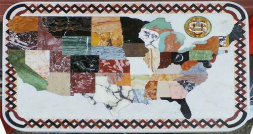 A1930 Pietra Dura Marble Mosaic of the United State's  Map -- For a Table-Top