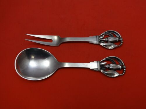 Pattern Unknown by W&S Sorensen Sterling Salad Serving Set 2pc w/Leaves/Blossom
