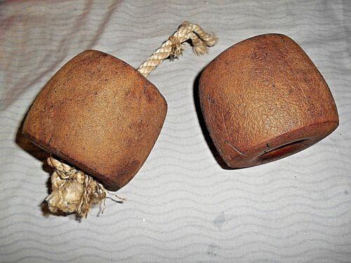 LOT OF 2 VINTAGE SPONGEX NAUTICAL FLOATS WITH BOTH ROPES INCLUDED