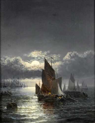 """Charming Oil painting sail boats on ocean with waves at moon night no framed 36"""""""