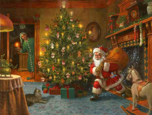 """Beautiful Oil painting portraits Santa Claus and Christmas tree on canvas 36"""""""