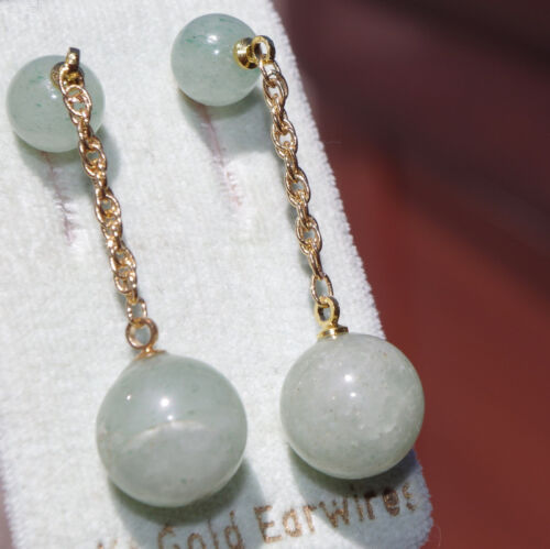 VINTAGE GENUINE 14K GOLD FILLED JADE JADEITE ELONGATED BALL STUD EARRINGS