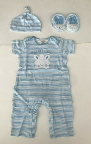 MY FIRST EASTER OUTFIT FOR BOY 6-9 MONTHS, ONE PIECE, HAT & BOOTIES - NWT