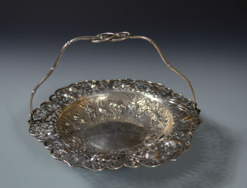 Chinese Export Sterling Silver Pierced Repousse Cake Tray