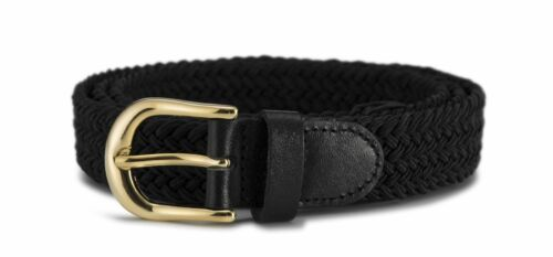 "Streeze Ladies Stretch Belt 1"" Wide with Gold Buckle Elasticated Fabric Weave"