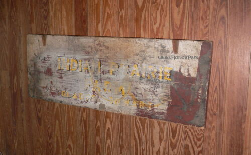 Antique INDIAN PRAIRIE FARM GLADYS COWART Trade Sign Lid Marion County Florida