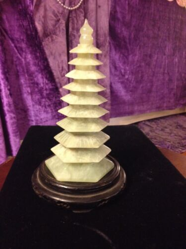 """Antique/Vintage Auspicious Carved Jade Pagoda/Stupa-9 Tiers """"Wen Chang"""" Tower!"""
