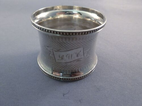 DIAPERED AND BEADED COIN SILVER NAPKIN RING Mono'd LWC