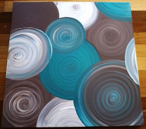 ABSTRACT CANVAS PAINTING BROWN CREAM METALLIC TEAL ORIGINAL ART FREE DELIVERY