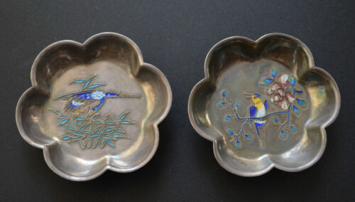 RARE PAIR CHINESE SILVER CLOISONNE ENAMEL BIRD AND FLOWER DISHES