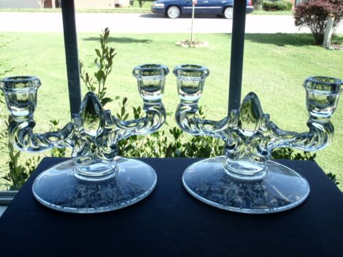 Set of 2 Viking Crystal Teardrop Double Light Candlesticks with Prelude Etch