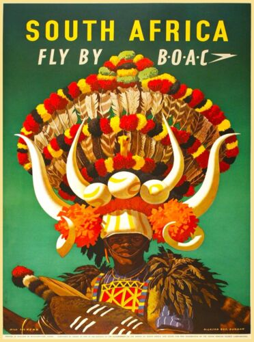 South Africa African Airlines Airplane Vintage Travel Advertisement Art Poster