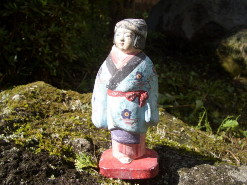 Japanese antique kimono wore clay doll on her back carring baby #9152