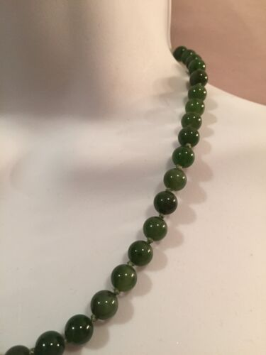antique Jade/ JADEITE 20 inch Necklace 14k Deep Translucent Green