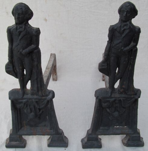 PAIR OF 19TH CENTURY GEORGE WASHINGTON FULL BODIED CAST IRON ANDIRONS