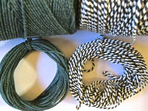 30mts  2mm Thick Green Cotton Bakers Twine 10mts 10mts stripey 10mts sparkle
