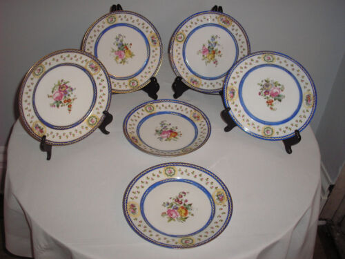 SIX antique SEVRES PLATES, handpainted flowers, gilt, royal blue, bleu de roi
