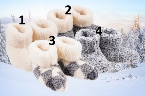 Ladies / Womens Natural Sheep Wool Slippers Boots Sheepskin sizes UK 3,4,5,6,7,8