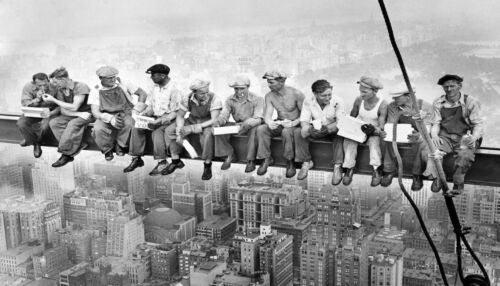 lunch on skyscraper a1 canvas size new york antique print  black white large