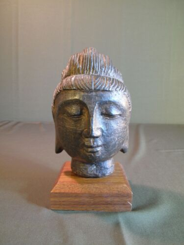 Very Fine Chinese Qing Dynasty Ironstone Buddha Head Statue on Stand