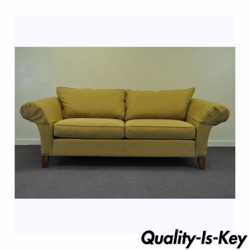 Contemporary Ethan Allen USA Traditional Style Rolled Arm Sofa Couch